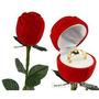 Caixa De Veludo Rosa C/ Cabo Anel Aliança Presente Namorada