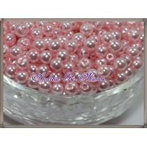 500 Pérolas 5mm Rosa Em Plástico Abs C/furo