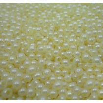 Perola Creme Beje Conta Plastica 4mm Pacote 1/2kg Atacado