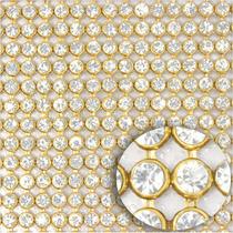 2 Mantas De Strass Prata E Dourada 22cm X 1,20 M