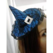 Headband Tiara Chapéu De Bruxa Azul Com Preto Renda Chic