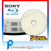 5 Bluray Sony Mídia Virgem - 25gb Printable - Imprimível Bd