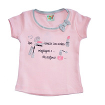 Camiseta Infantil Rosa Adoro Brincar Maquiagens - Have Fun