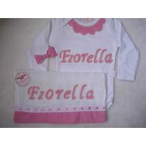 Body+ Fralda Personalizado Com Nome E Bordados Com Perolas
