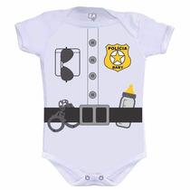 Body Mesversario Bebê Futuro Policial - Tamanhos Pp/p/m/g/gg