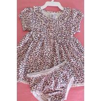 Vestido De Oncinha + Calcinha Bebê Menina