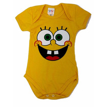 Body Infantil Bob Esponja Amarelo Para Bebe