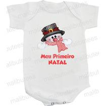 Body Infantil Meu Primeiro Natal Boneco De Neve Noel Bebê