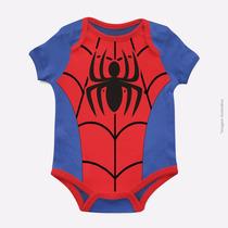 Body Infantil Bebê Homem Aranha Super Herói 100% Algodão