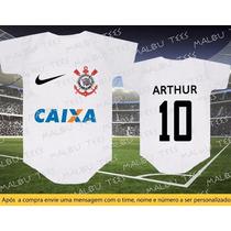 Body Camiseta Time Corinthians Futebol Bebê Personalizado