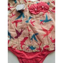 Body Vestido Bebê Menina Fashion Pássaros