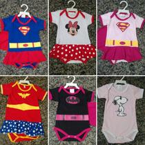 Body Infantil Capitão América, Super Homem, Minnie.