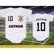 Body Camiseta Time Corinthians Futebol Bebê Com Nome