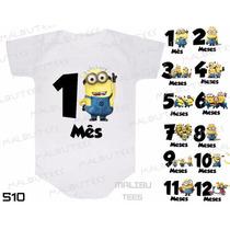 Kit 12 Body Mesversario Minions Numeros Personalize Nome
