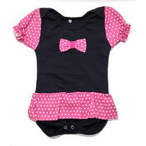 Body Saia Da Minnie (miney) - Rosa - Com Lacinho - Para Bebê