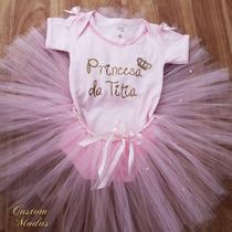 Body Bebe Saia Tulle Princesa Da Titia Tal Mae Tal Filha