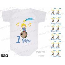 Body Pequeno Príncipe Bebê Mesversario Com Nome Kit Com 12un