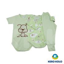 Conjunto Body Baby 3 Peças Menino, Kero Kollo,direto/fabrica