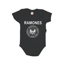 Body Infantil Personalizado Bebê Ramones Banda De Rock