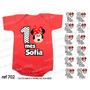 Kit 12 Body Infantil Mês A Mês Mesversario Minnie Vermelha