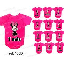 Body Minnie Menina Personalizado Mesversario Kit Com 12