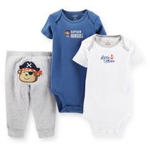 Frete Grátis |conjunto Infantil Bodies Carters Kit 3 Pç 12m