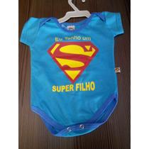 Body Infantil, Masculino, Super Filho, Cor Azul, Tamanho P.