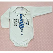 Body Para Bebê Manga Longa Em Algodão Estampado Gravata