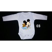 Body Infantil Manga Longa Disney Minnie Mickey Pluto Baby