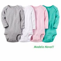 Kit 4 Body Manga Longa Carters - Menina, Vários Modelos