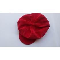 Boina Feminina De Veludo Cotelê Vermelha