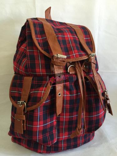 Bolsa Feminina De Faculdade : Bolsa mochila feminina saco lona escolar faculdade xhadrez