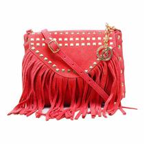 Bolsa Transversal Com Franjas Cores Vermelha Ou Azul 15x13x3