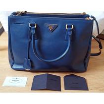 Prada Saffiano Azul +nota Fiscal Prada Nyc 40% Off 2400 !