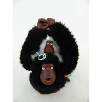 Chaveiro Kipling Macaco Com Bebê - Preto E Branco -original