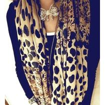 Echarpe Em Chiffon De Seda Leopardo