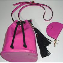 Bolsa Feminina Bucket Pink Couro Legítimo - Promoção