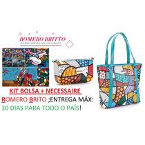 Kit Bolsa+necessaire Romero Britto-produto No Brasil!frtefre