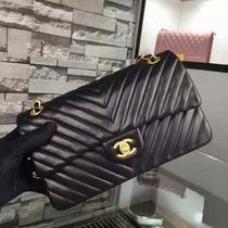 Bolsa Chanel 2.55cm Lambskin Chevron Preta - Pronta Entrega