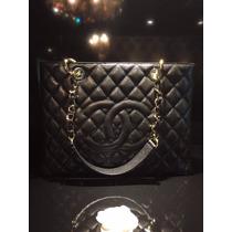 Bolsa Chanel Gst Tote Preta Original Em Caixa