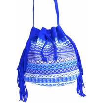 Bolsa Saco Étnica Com Franja Azul Royal Bic
