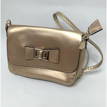 Bolsa Pequena Dourada Com Verniz, Laço E Alça Longa