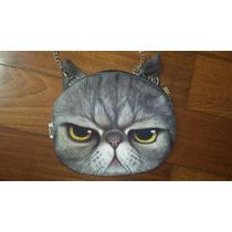 Bolsa Pequena De Lado Com Cara Gato Grumpy