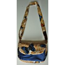 Bolsa Em Tecido Borboletas/azul