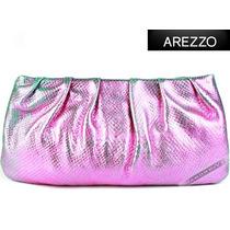 Bolsa Arezzo Clutch Rosa Verde Mão Couro Legítimo Original