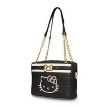 Sacola Hello Kitty Preto / Creme W / Metal Curva Do Ouro San