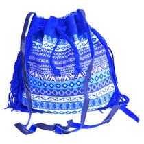 Bolsa Feminina Saco Étnica - Azul Royal