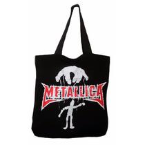 Bolsa Temática Rock Metallica Tecido Preto Sacola Pano Heavy