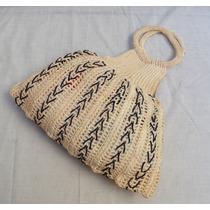 Bolsa Muito Antiga Tipo Sacola De Crochê De Linha Bege
