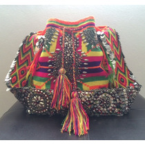 Bolsa Wayuu Colombiana Colorida Bordada